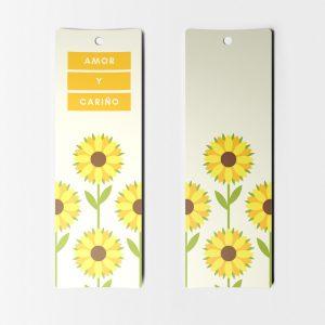 Separador de Libros Amarillo y Girasoles para Imprimir