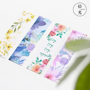 Set de 30 Separadores de libros con diseños florales y frases